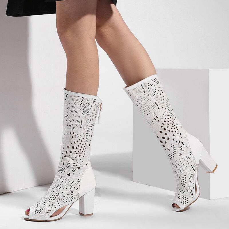 TOP Loch Damen Kniehohe Sommer Stiefel Geschnitzt Block Absatz Peep Toe Sandale