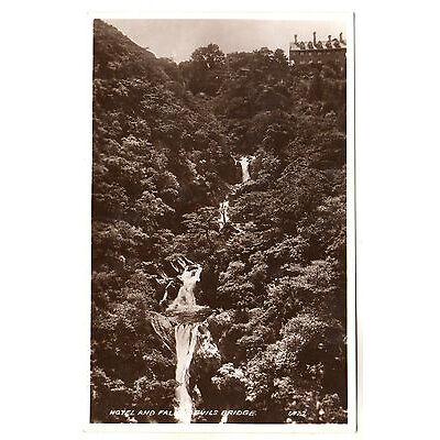 Hotel & Falls Devils Bridge Real Photo Postcard c1920
