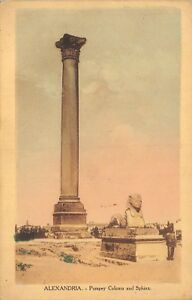 POSTCARD-EGYPT-ALEXANDRIA-Pompey-Column-and-Sphinx