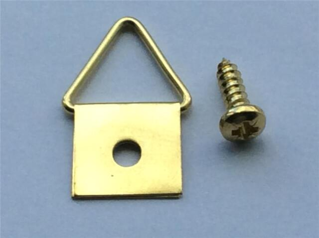 25 Picture Frame Hooks Triangle D Rings Hangers Hanging Brass Plated ...