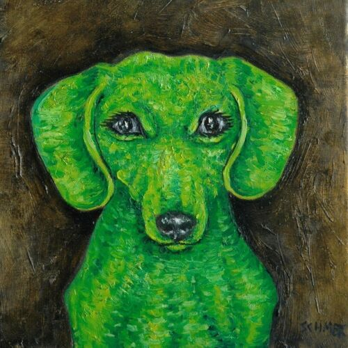 GREEN dachshund dog art tile coaster impressionism animals artist gift new
