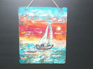 Original-Acrylic-Painting-10-x12-Pressed-Wood-Abstract-Boat-Coastal-Beach-Art