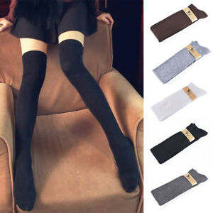 New-Girls-Ladies-Women-Thigh-High-OVER-the-KNEE-Socks-Long-Cotton-Stockings-Warm