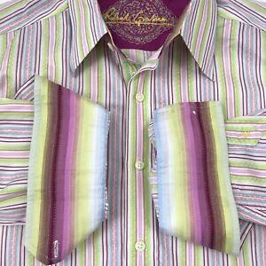 Robert-Graham-Mens-Multicolor-Striped-Shirt-Large-L-S-Flip-Cuffs-Button-Up