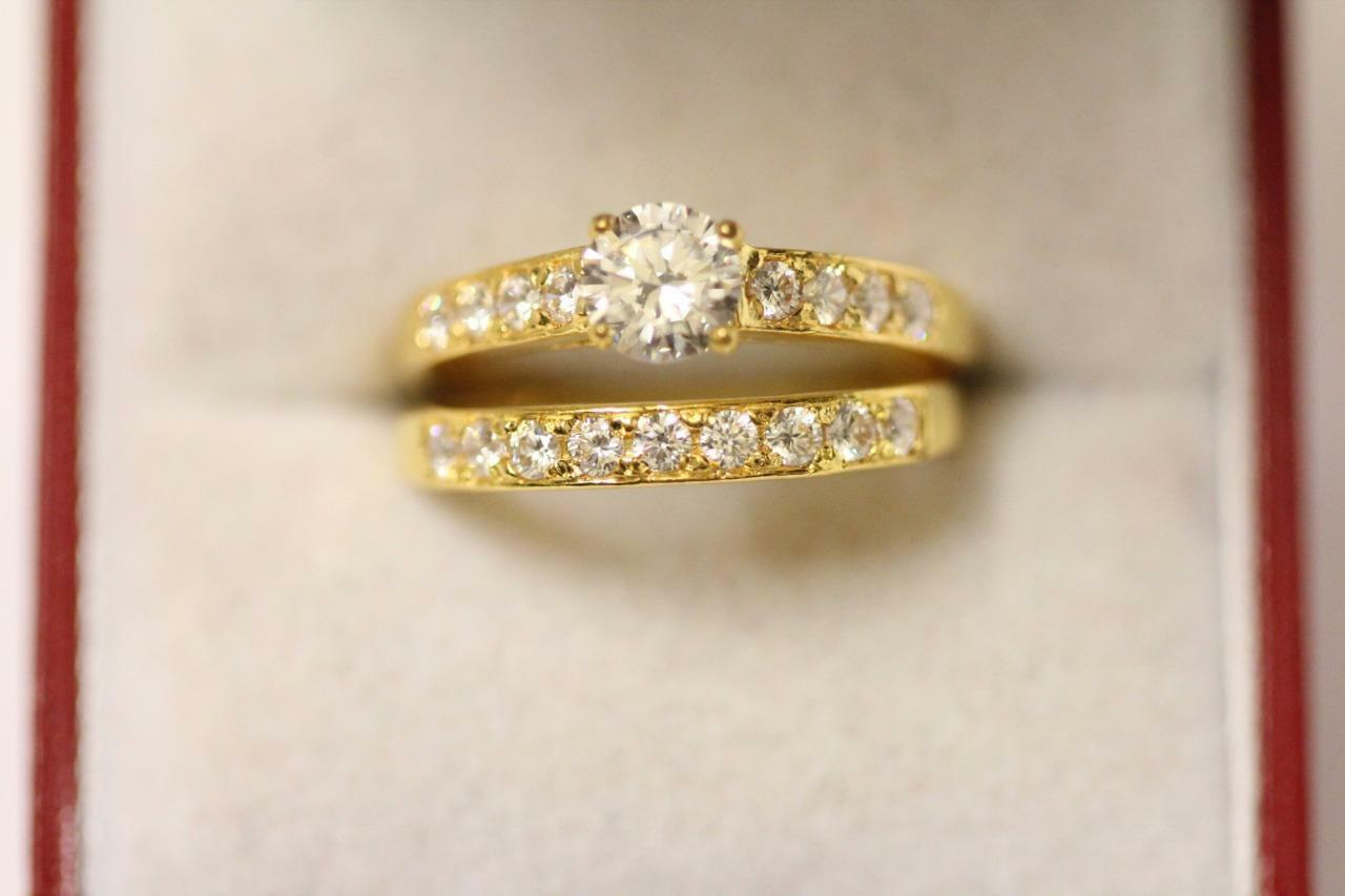 22ct 916 sparkling indian gold size O engagement wedding ring set Boxed