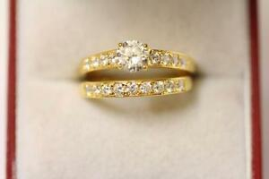 22ct 916 Sparkling Indian Gold Size M Engagement Wedding Ring Set