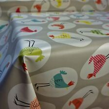 Grey PVC Table Covering with Hen Chicken Egg Design Tablecloth (Per Metre)