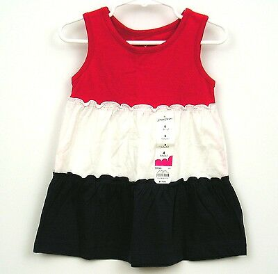 Girls Sz 4 Babydoll top Red White Blue Tiered Jumping Beans NWT