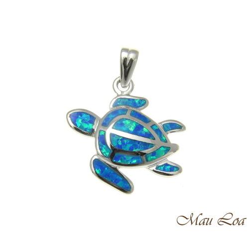 925 Sterling Silver Rhodium Hawaiian Honu Sea Turtle Blue Opal Pendant Charm