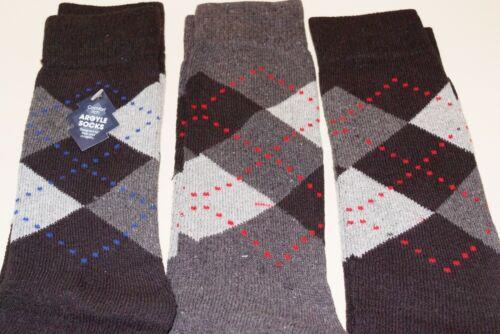 MENS ARGYLE 3 PACK SOCKS 2 DESIGN 3 PAIRS 80/% COTTON DRESS SUIT SOCKS NEW
