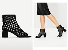 Brand New ZARA Black Block Mid Heel Mesh Ankle Boots Size UK 7/EU40 REF 2104/20