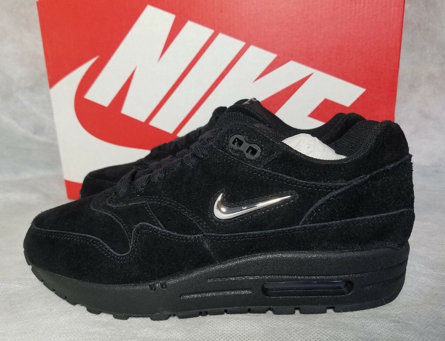 New Nike Air Max 1 Premium SC Run Women Size 7 Shoe Black Metallic Silver Jewel