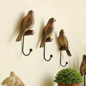 3pcs Vintage Lifelike Bird Decorative Wall Hooks Hanging