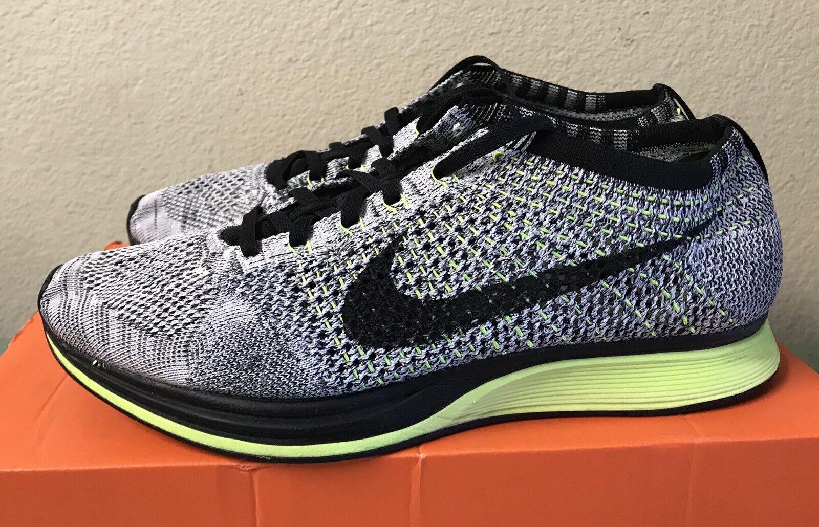 Nike Flyknit Racer Black White Volt Mens Sz 10 Lunar Trainer Running shoes 2014