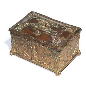 Antique French Jewelry Box Neoclassic Cherub Putto Head of Woman