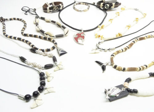 12 New Assorted Surfer Shell Coco Bead Shark Tooth Jewelry Lot #12SURFLOT2