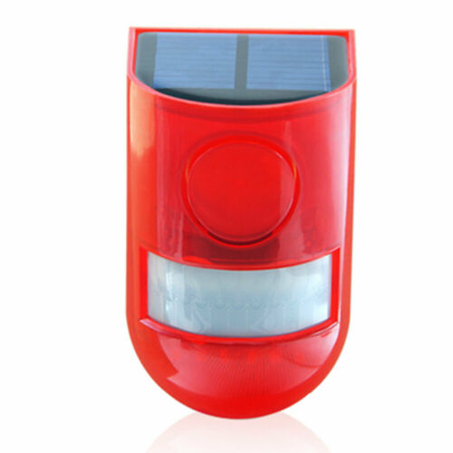 Solar Powered Sound Alarm Strobe Light LED Flashing Light 110db for Home IP65
