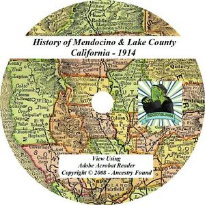 1914-MENDOCINO-LAKE-County-California-CA-History-Genealogy-Family-CD-DVD