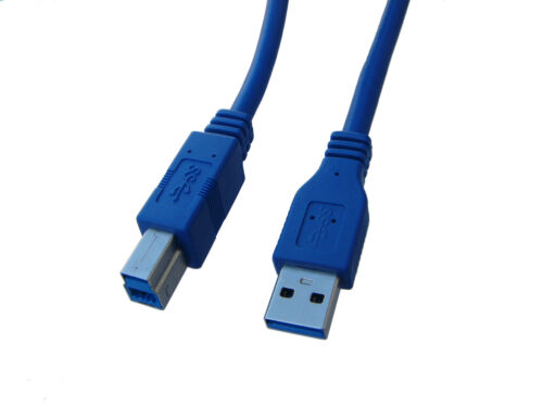 Lot of 2 Pack Premium Quality USB 3.0 A Male to B Male Cable,1 Foot,1 Ft Blue