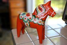 "NILS OLSSON - Swedish Dala horse 7"" Tall, from Sweden - Vintage Nordic Folk Art"