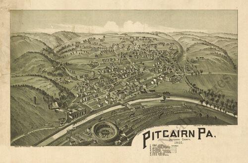 Pitcairn PA c1901 map 24x16