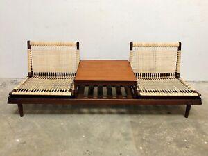 Hans Olsen Teak Cane Modular Sofa