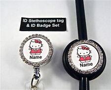 ID STETHOSCOPE TAG & ID BADGE SET BLING,HELLO KITTY RN,NURSE,ER,MEDICAL,VET TECH