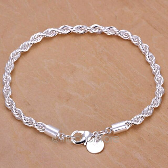 Women Fashion jewelry Twisted Rope Chain Solid 925 Silver Plated Bracelet/Bangle