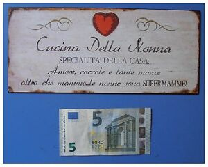 Targa-vintage-034-Cucina-della-nonna-specialita-della-casa-034-metallo-cm-25x11