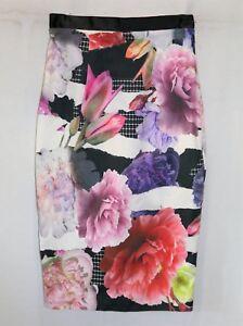 PORTMANS-Brand-Multicolour-Floral-Print-Pencil-Skirt-Size-8-BNWT-TD28