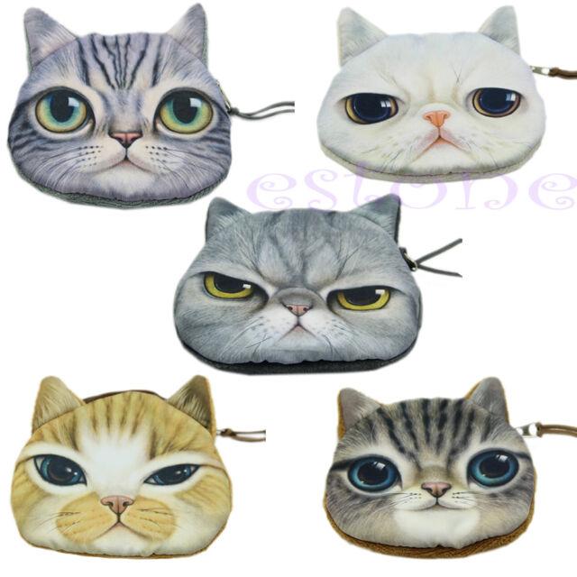Children Cute Cat Face Zipper Case Coin Kids Purse Wallet Makeup Bag Pouch