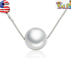 Women-925-Sterling-Silver-Plated-Cubic-Necklace-10-MM-Pearl-Pendant-Choker