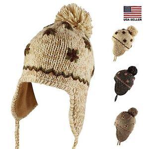 Flower Knit Pom Pom Trapper Beanie Warm Winter Hat with String ... 06efc0d2f4