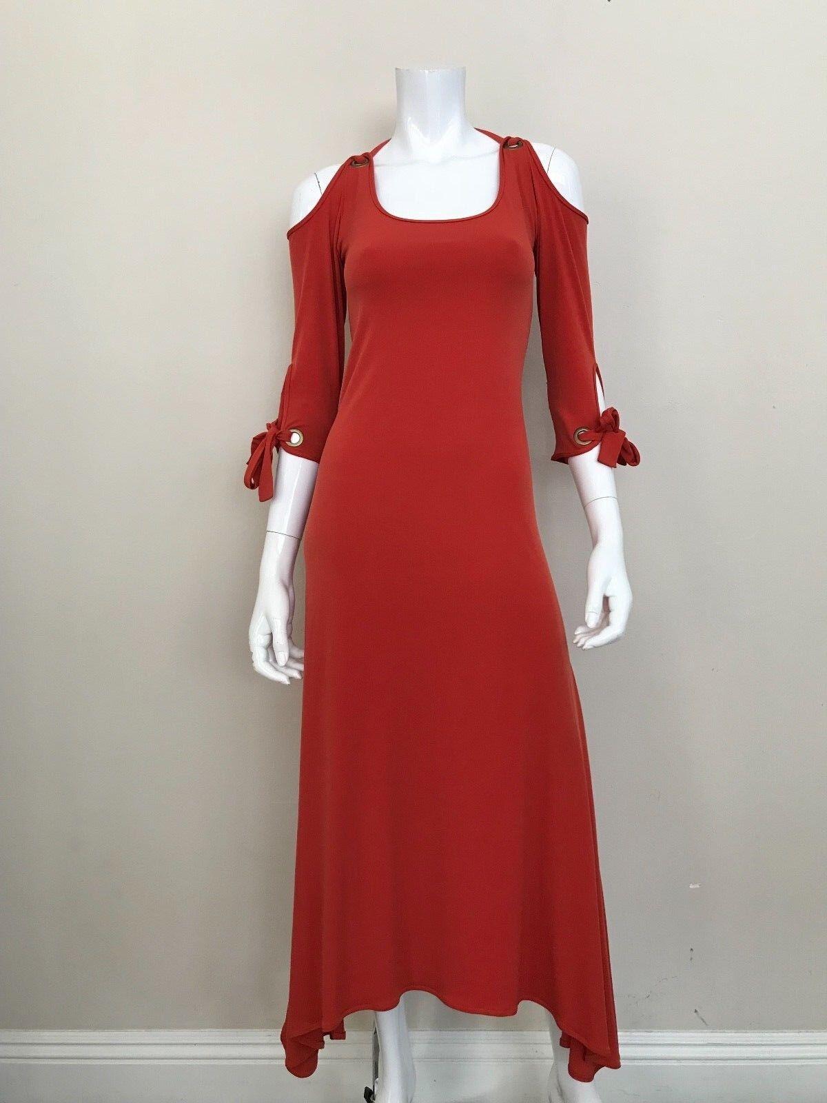 EVA VARRO NWT Burnt Orange Long Dress 3 4 Sleeves w Grommets Größe Small NEW