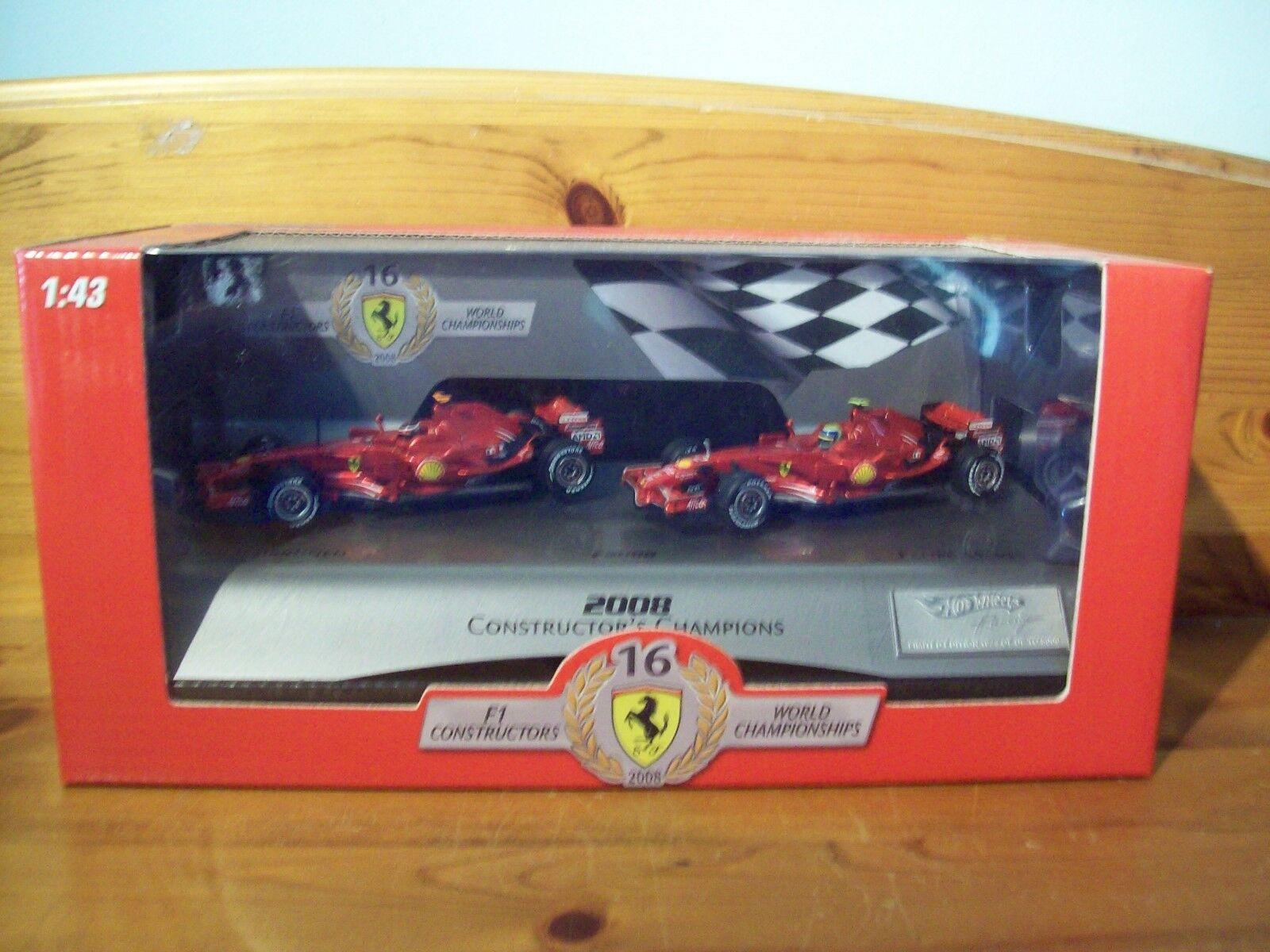 1/43 Hot Wheels TWIN-SET FERRARI F2008 Kimi Raikkonen Felipe Massa 2008 construire | De Fin D'année Bonnes Affaires Vente