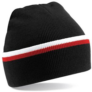Black White Red Woolly Beanie Hat In Brentford FC Team Colours - One ... 37ad747ed