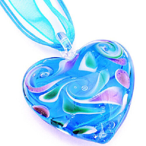 Aqua Pink Heart Handmade Lampwork Glass Murano Bead Pendant Ribbon Wax Necklace