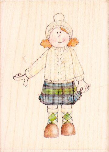 Wood Mounted Rubber Stamp Jolly Nation KILT GIRL