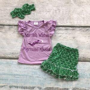 e62d49a2faeb US Kid Baby Girl Little Mermaid 3pcs Clothes Tops T shirt Short ...