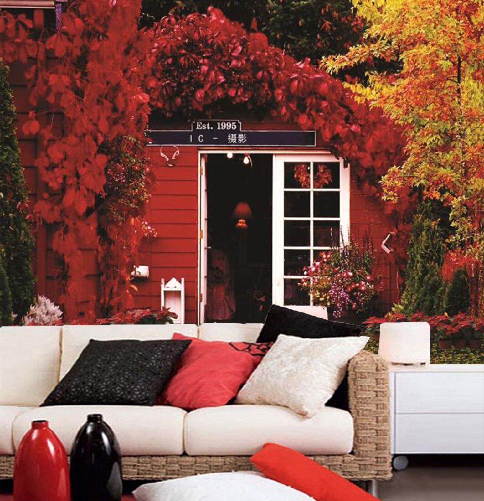 3D Herbst Haus Blätter 8 Tapete Wandgemälde Tapete Tapeten Bild Familie DE Lemon