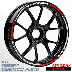 Adesivi-cerchi-ruote-XMAX-400-set-profili-GRIGIO-ROSSO-wheel-stickers-R-5t