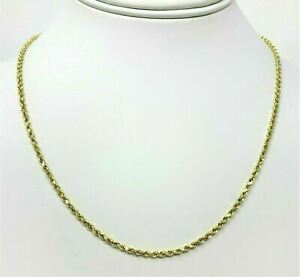 Real-14K-Yellow-Gold-Necklace-Gold-Rope-Chain-1-8-mm-16-039-039-30-039-039-Genuine-14KT