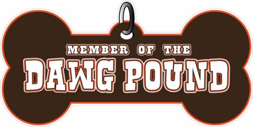 """Member of the Dawg Pound Cleveland Brown And Orange Dog Tag 8/"""" Decal Sticker"""
