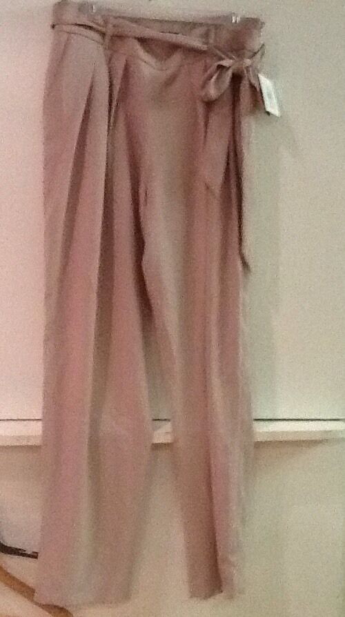 NWT Ellen Tracy Fawn Crepe Pleated Front Sash Belted Straight Leg Pants 10