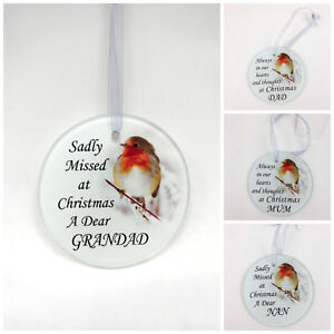 Robin-Glass-Christmas-Tree-Hanging-Plaque-Decoration-Memorial-Xmas-Bauble