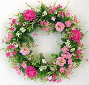 t rkranz fr hling ranunkel rosa pink 35cm wand tisch kranz sommer blumenkranz ebay. Black Bedroom Furniture Sets. Home Design Ideas