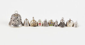 Lot-of-Vintage-Sterling-Silver-Bell-Charms-Filigree-Working-Red-Cross-Cow-Marked