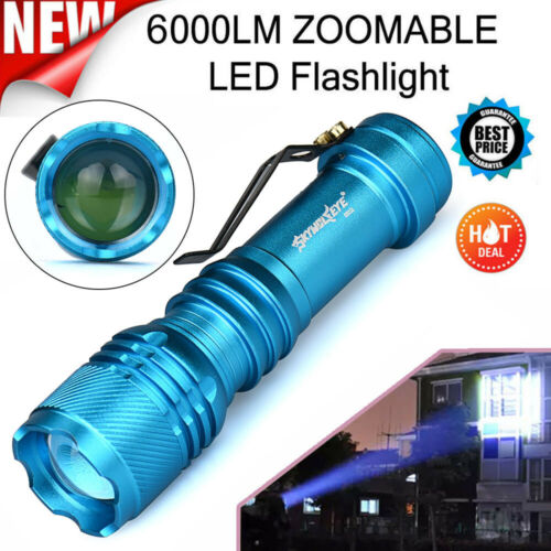 6000LM ZOOMABLE Flashlight Q5 LED 3Mode AA//14500 Torch Lamp Super Bright