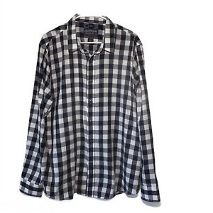 American-Rag-Blue-White-Check-Mens-XL-Shirt-Long-Sleeves-Button-Up-Cotton-Blend