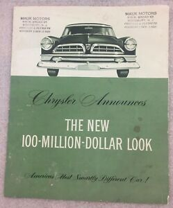 Large Car Ad 1955 Chrysler Windsor motor company classic old photo advertisement parts print brochure dealer auto Deluxe V8 american